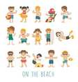 People on the beach eps10 format vector image