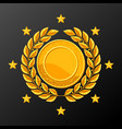 realistic gold medal with laurel wreath vector image