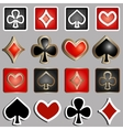 set of icons with card suits - vector image