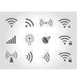 Set of twelve black wireless and wifi icons vector image