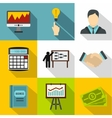 Finance icons set flat style vector image