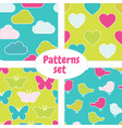 pattern set with colorful clouds hearts vector image