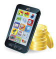 smart phone and coins vector image vector image