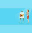 creative female artist painting portrait vector image