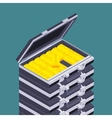 Isometric open briefcase with the golden bars vector image