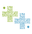 Cross shape with medical icons for your design vector image vector image
