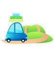 cute little retro car with suitcases vector image