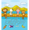 Fishing Maze vector image