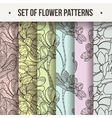Set of Seamless Floral Zentangle Pattern vector image