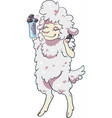 sheep using hairspray styling its hair vector image