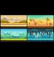 landscape cartoon seamless backgrounds set vector image