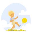 boy playing ball vector image vector image