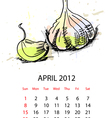 calendar with vegetables for 2012 april vector image vector image