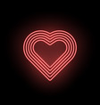 neon heart neon silhouette of red heart vector image