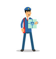 Postman in blue uniform with red bag holding gift vector image