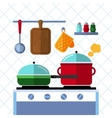 Pots and pans on a stove Kitchen cooking flat vector image