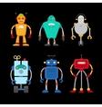 Retro robot set vector image