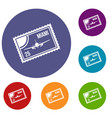 stamp with plane and text miami inside icons set vector image