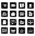 Surfing set icons grunge style vector image