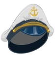 White captain cap with anchor vector image