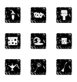 Tricks icons set grunge style vector image