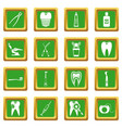 dental care icons set green vector image