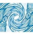 Blue ornate doodle wave background vector image vector image