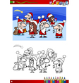 christmas characters for coloring book vector image