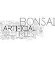 beautiful artificial bonsai tree text word cloud vector image