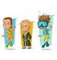 cartoon smiling diver swimmer character set vector image