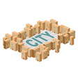 City building Yard among the houses Isometric vector image