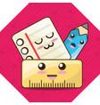 kawaii icons school tools to study education vector image