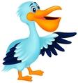Pelican bird cartoon waving vector image