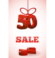 red 3d text SALE with percent discount vector image