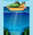 Underwater and island vector image