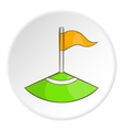 Red flag in the corner of the field icon vector image