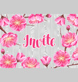 invitation with sakura or cherry blossom floral