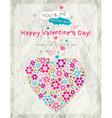 background with valentine heart of spring flowers vector image