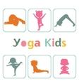 Cute yoga kids silhouettes vector image