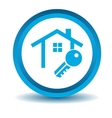 House key icon blue 3D vector image