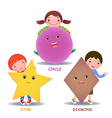 Cute little cartoon kids with basic shapes star vector image