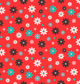 Flat Design Seamless Retro Flowers on Red vector image