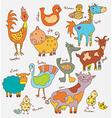Funny cartoon farm animals vector image