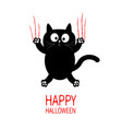 happy halloween black cat claw scratch glass cute vector image