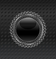 Heraldic circle shield on metallic background - vector image