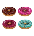 set donuts tasty dessert isolated graphic vector image