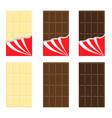 white milk dark chocolate bar icon set opened vector image