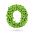 Letter of green leaves with shadow vector image vector image