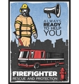 Vintage Firefighting Colorful Poster vector image