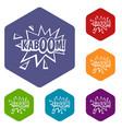 kaboom explosion icons set hexagon vector image